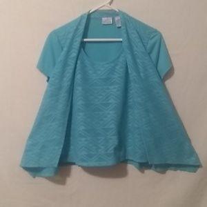 Kim Rogers blouse size petite like new Tauquoise